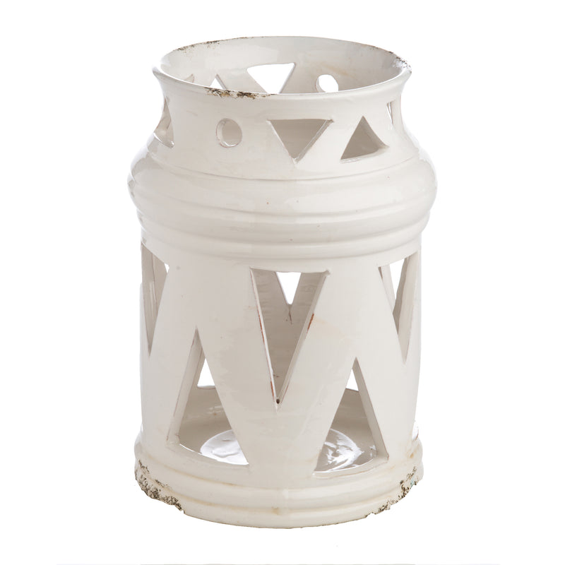 White Ceramic Lantern with Cutouts