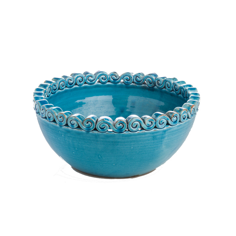 250321 Abigails Wholesale Home Décor Ceramics and Terra Cotta Planters Turquoise Bowl with Scrolled Edge Puglia