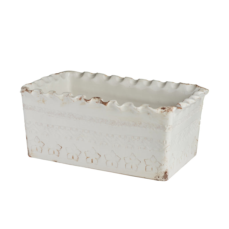 Puglia White Rectangle Planter, Scalloped
