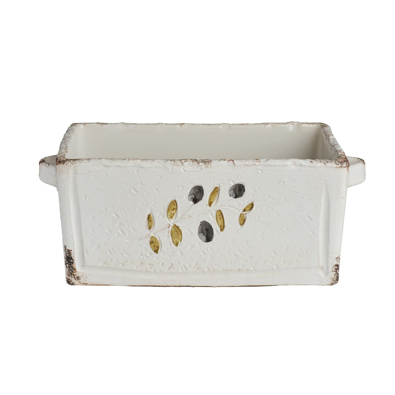 Puglia White Rectangle Planter w/ Olives