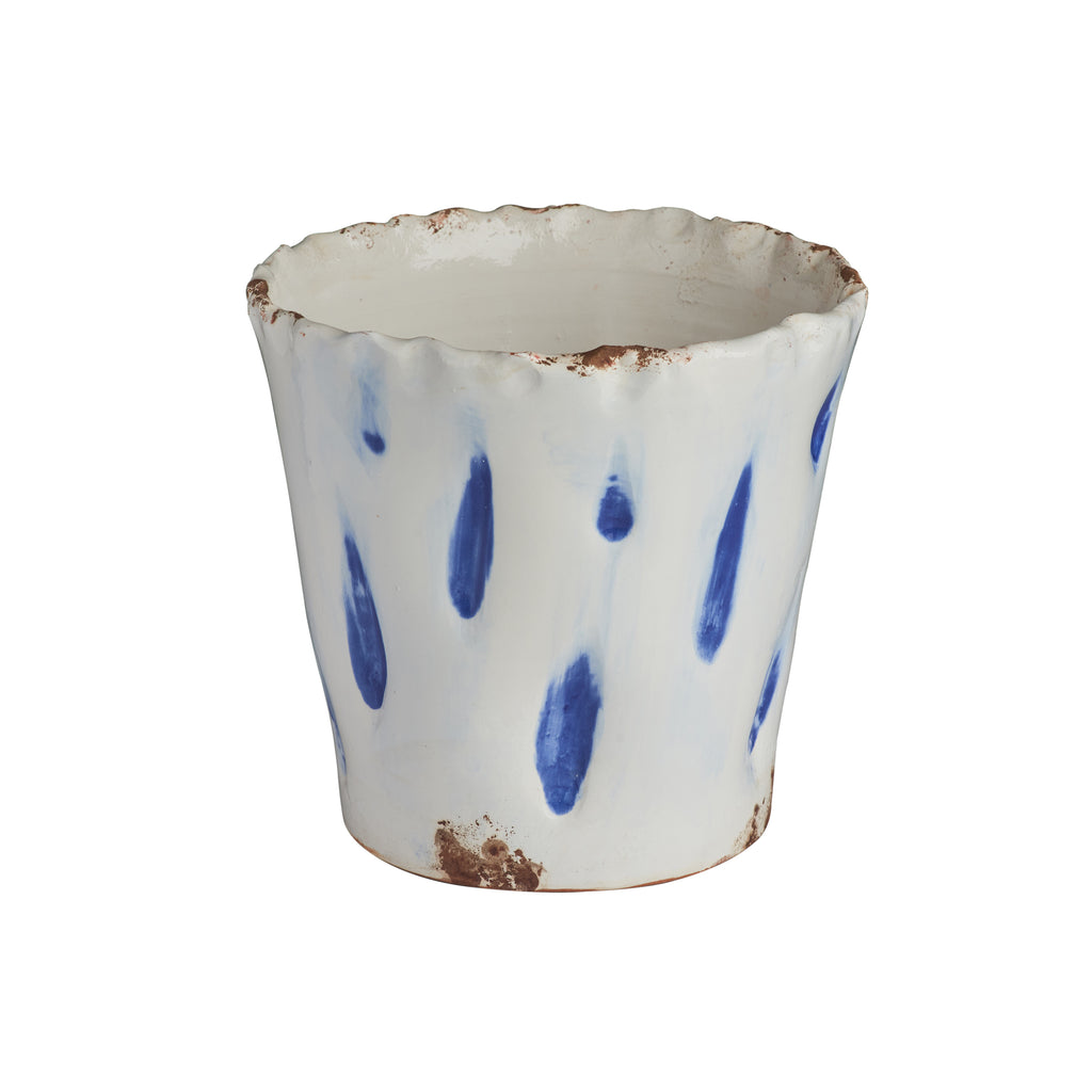 Aegean Cachepot w/ Blue Dots, Large