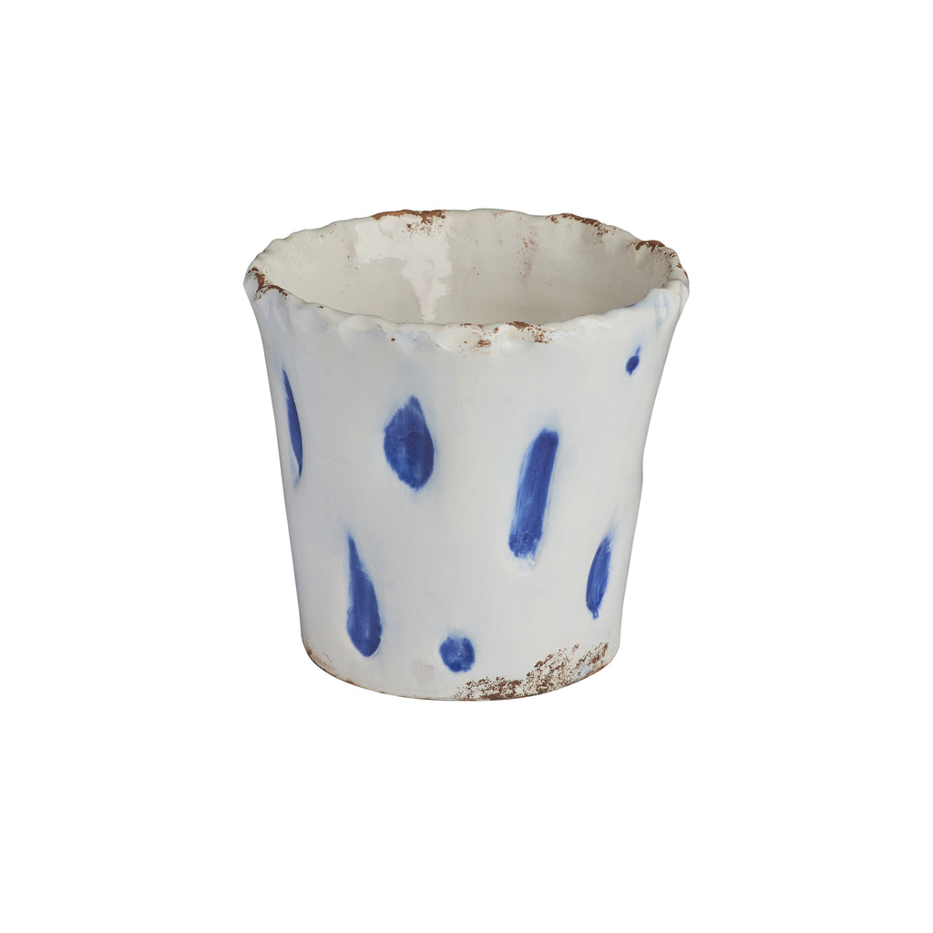 Aegean Cachepot w/ Blue Dots, Small