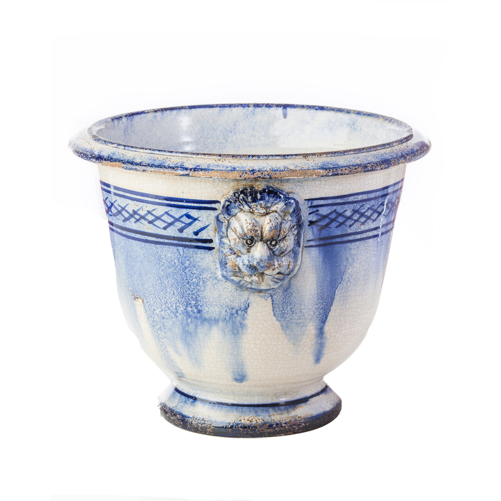 Lionshead Blue and White Ceramic Cachepot