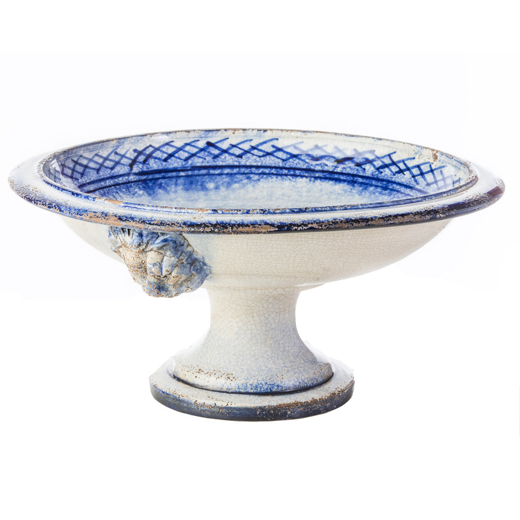 Lionshead Blue and White Ceramic Compote
