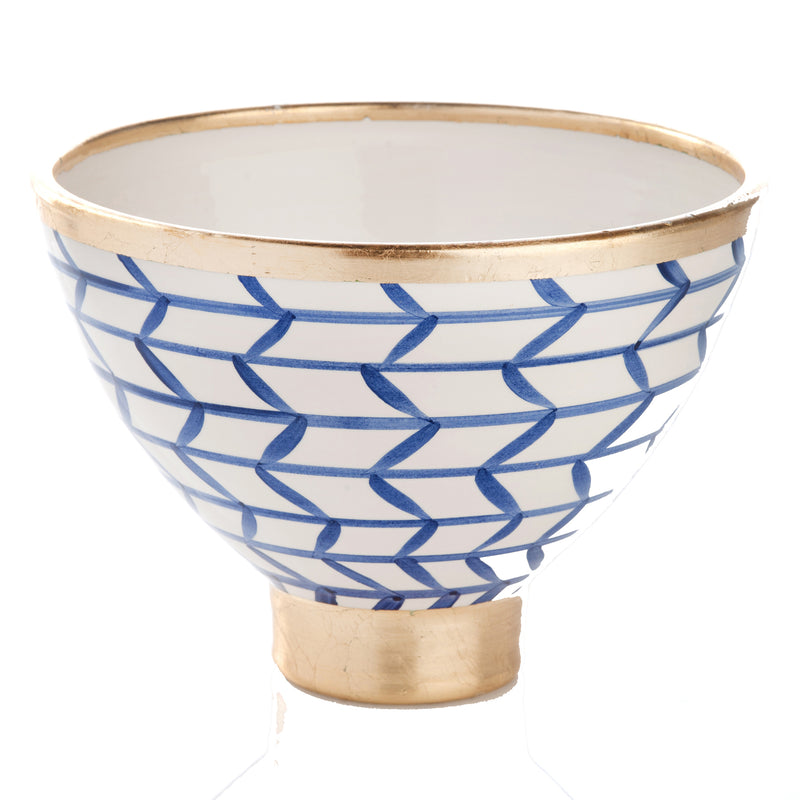 260113 Abigails Wholesale Home Décor Ceramics and Terra Cotta Compotes and Bowls Contempo Collection Decorative Geometic Ceramic Footed Bowl Contempo