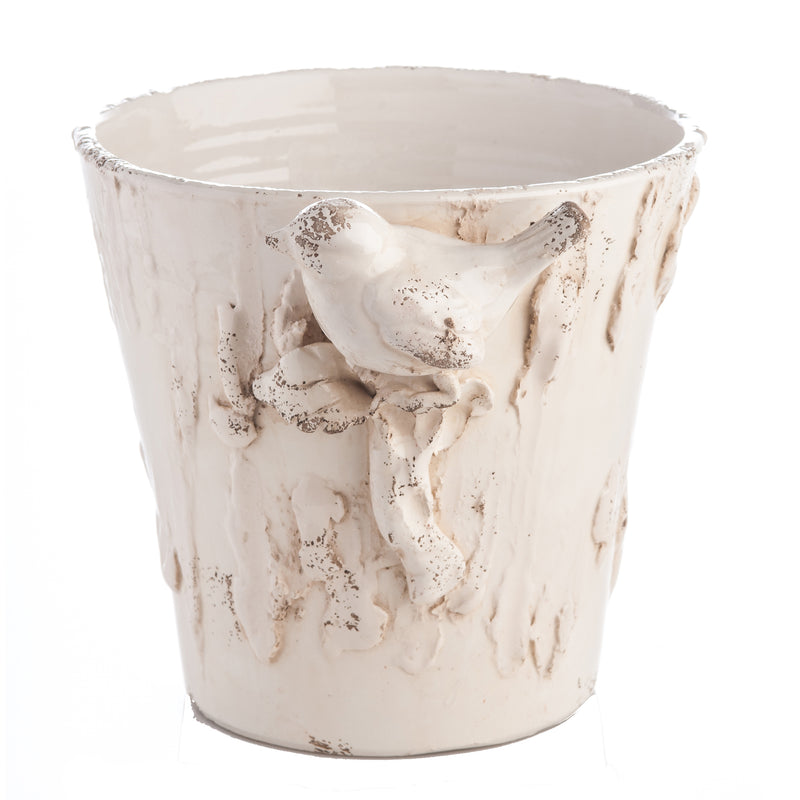 White Ceramic Cachepot with Bird