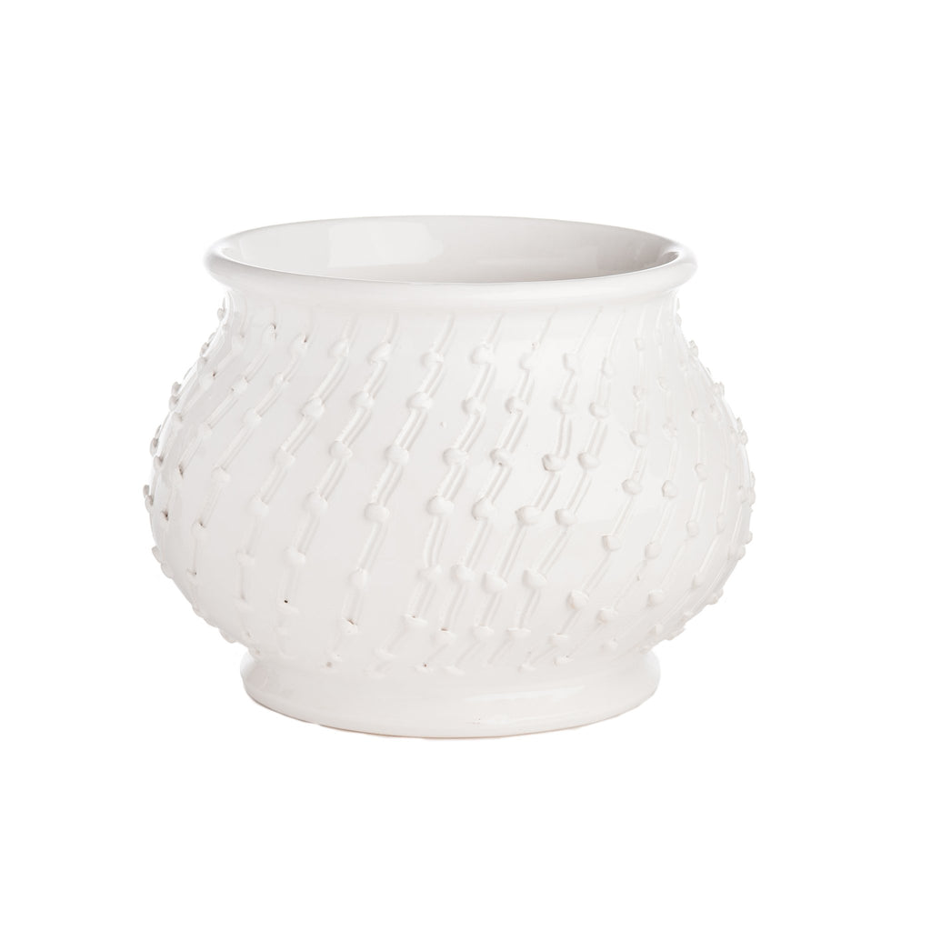 260125 Abigails Wholesale Home Décor Ceramics and Terra Cotta Cachepots Bari White Cachepot Bari