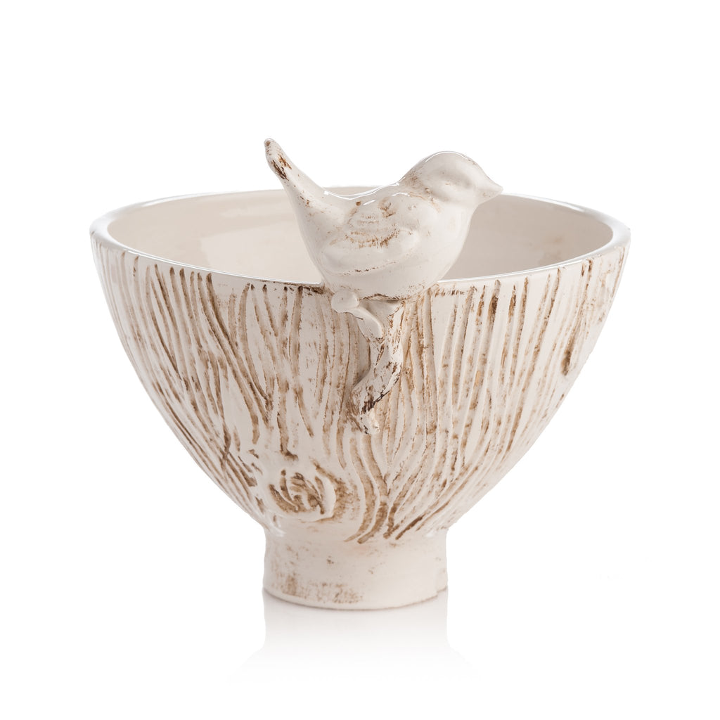 260131 Abigails Wholesale Home Décor Ceramics and Terra Cotta Planters White Ceramic Bowl with Bird Uccello