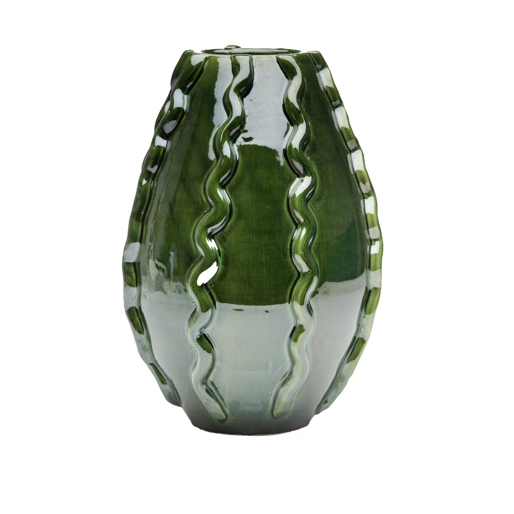 260135 Abigails Wholesale Home Décor Ceramics and Terra Cotta Vases Handmade Garden Planter (Vase) Green Bari