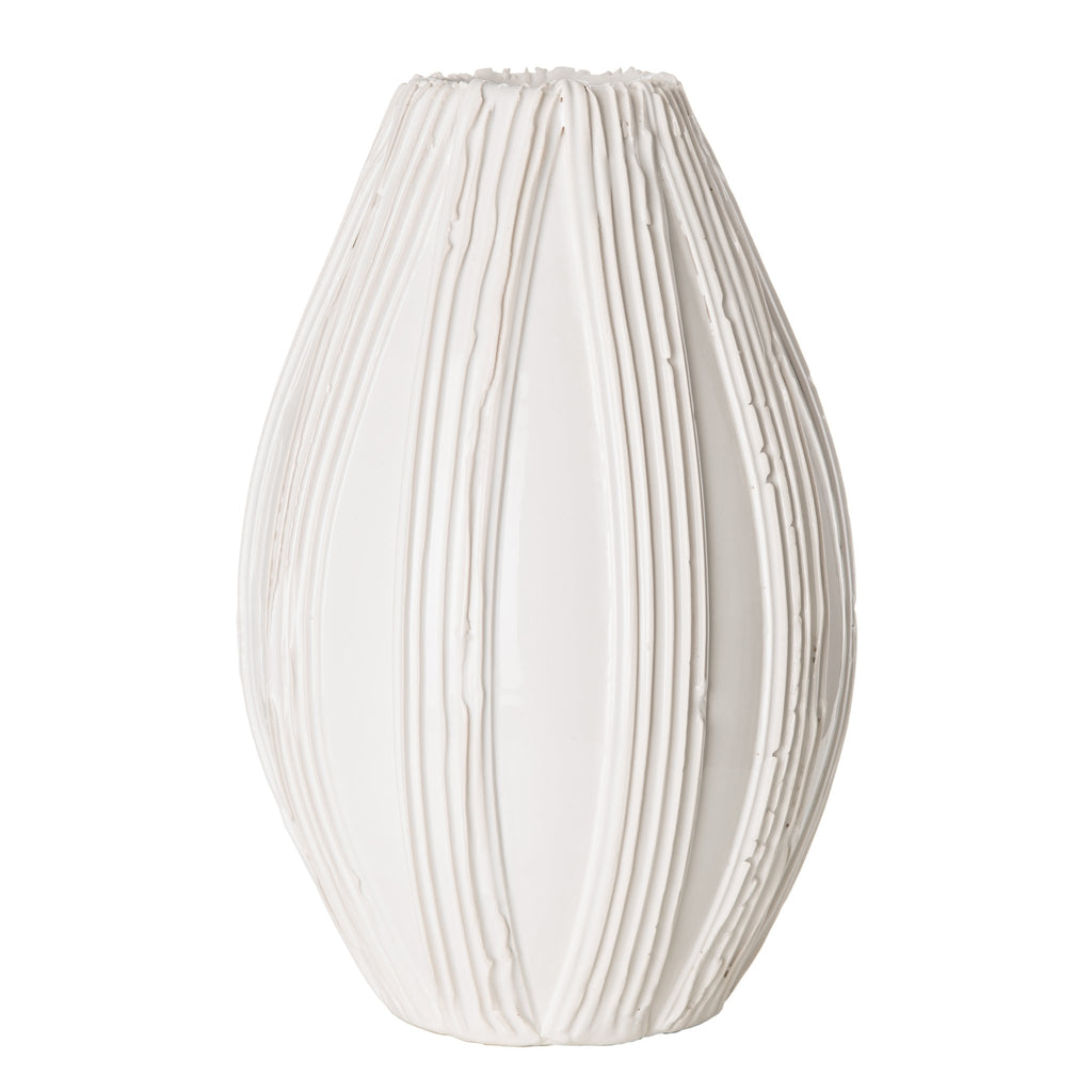 260138 Abigails Wholesale Home Décor Ceramics and Terra Cotta Accessories Alpine Olive Vase White Alpine