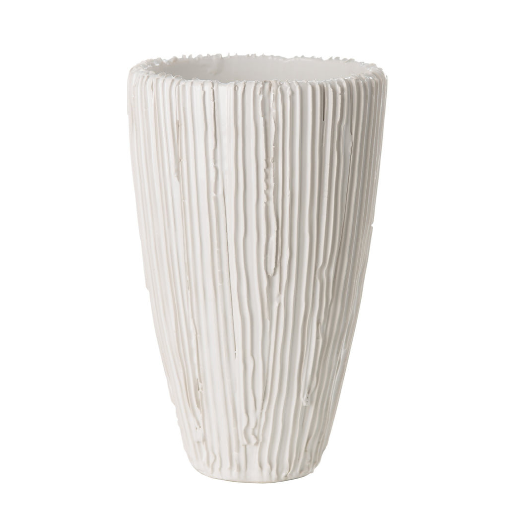 260139 Abigails Wholesale Home Décor Ceramics and Terra Cotta Vases Alpine Cone Vase White Alpine