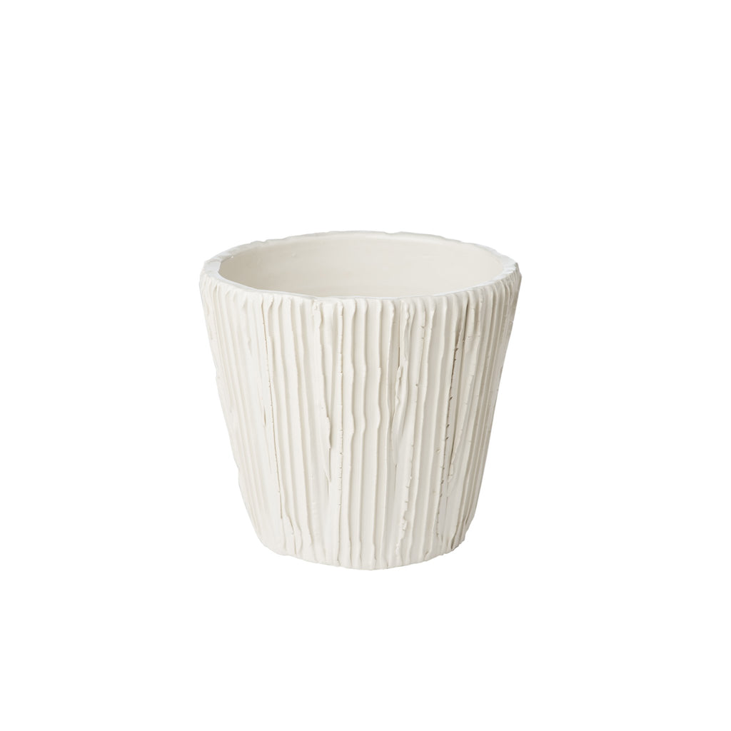 260145 Abigails Wholesale Home Décor Ceramics and Terra Cotta Cachepots Alpine Cachepot White Alpine