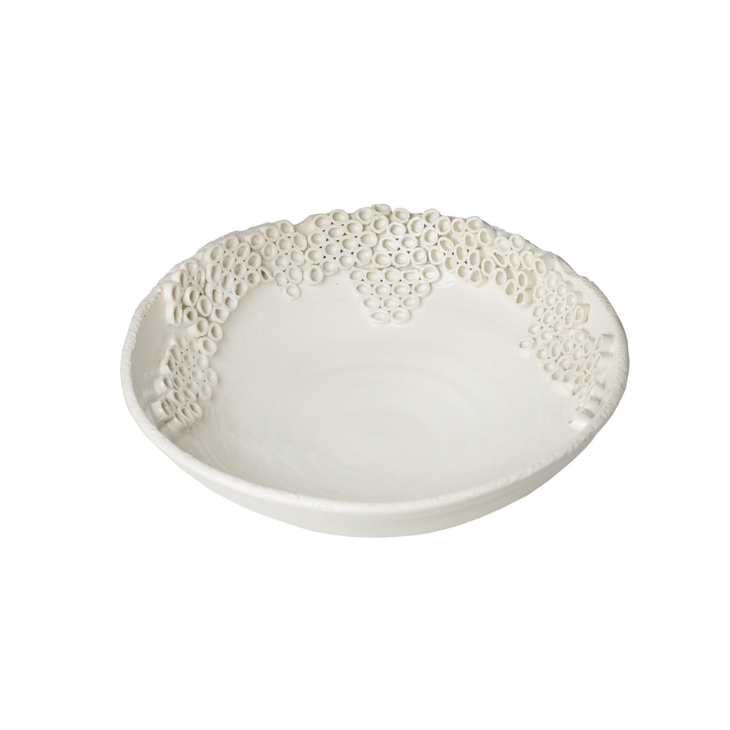 260152 Abigails Wholesale Home Décor Ceramics and Terra Cotta Compotes and Bowls Cerchio Bowl White Cerchio