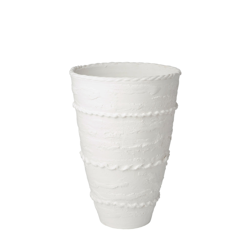260158 Abigails Wholesale Home Décor Ceramics and Terra Cotta Vases Pompeii Tall Vase White Pompeii