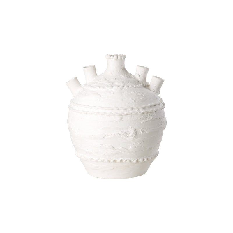 260161 Abigails Wholesale Home Décor Ceramics and Terra Cotta Tulipieres Pompeii Tulipiere Medium White Pompeii