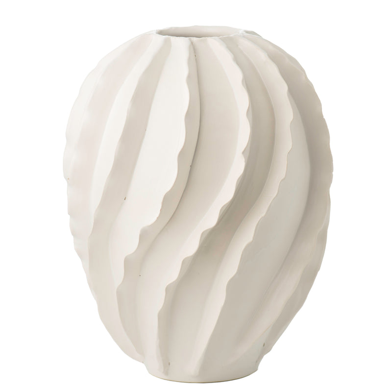 260170 Abigails Wholesale Home Décor Ceramics and Terra Cotta Vases Santa Barbara Vase Matte White Santa Barbara