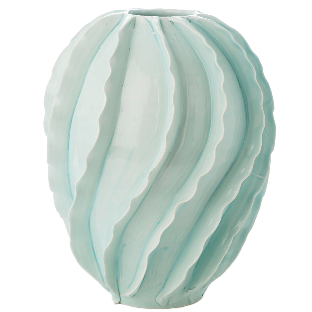 260171 Abigails Wholesale Home Décor Ceramics and Terra Cotta Vases Santa Barbara Vase Sky Blue Santa Barbara