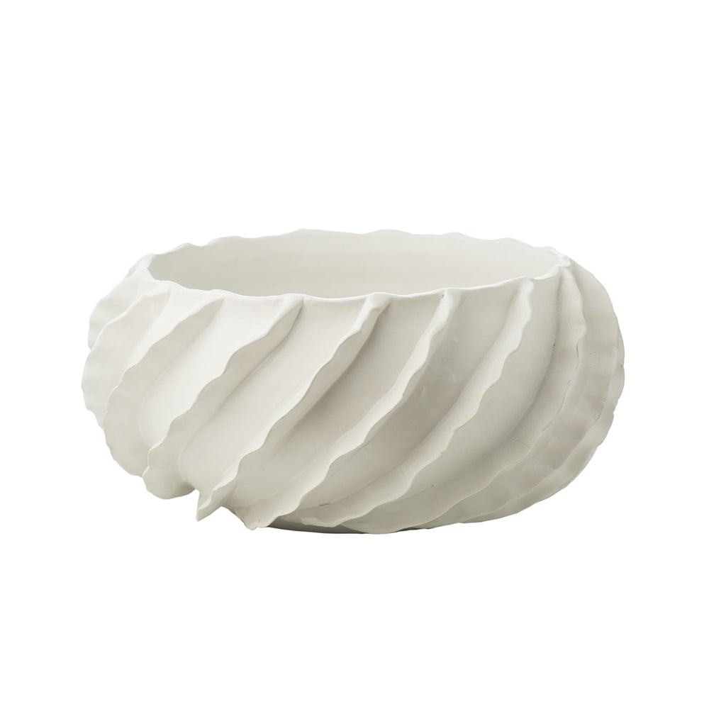 260173 Abigails Wholesale Home Décor Ceramics and Terra Cotta Compotes and Bowls Santa Barbara Bowl Matte White Santa Barbara