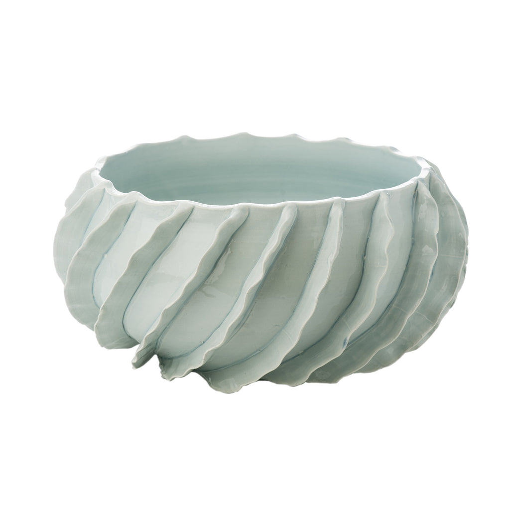 260174 Abigails Wholesale Home Décor Ceramics and Terra Cotta Compotes and Bowls Santa Barbara Bowl Sky Blue Santa Barbara