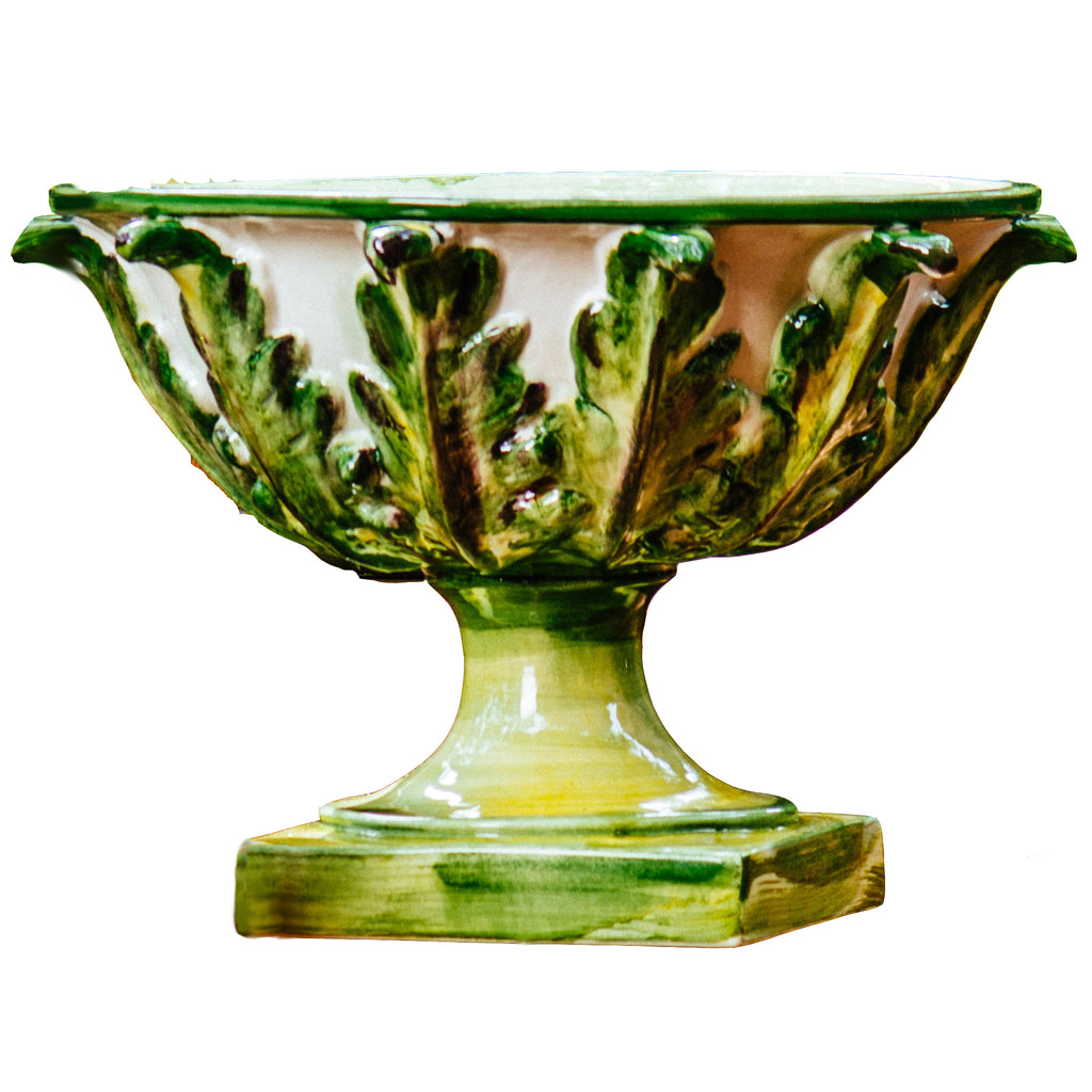 Gathered Garden Footed Bowl w/ Acanthus Leaves