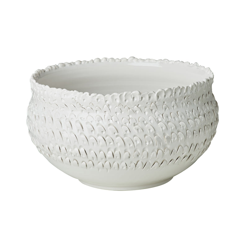 Centerpiece, Tall Ceramic with Cutwork Bowl