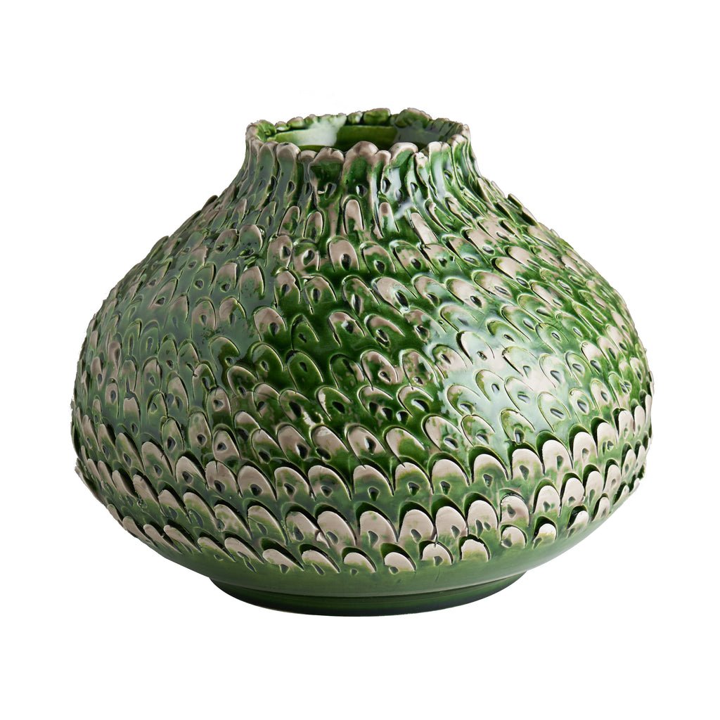 Green/Grey Feathered Vase, Small