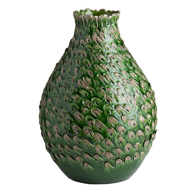Green/Grey Feathered Vase, Large