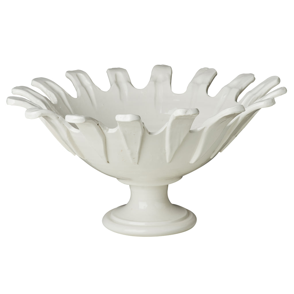 Footed Bowl, White, Applied Petals