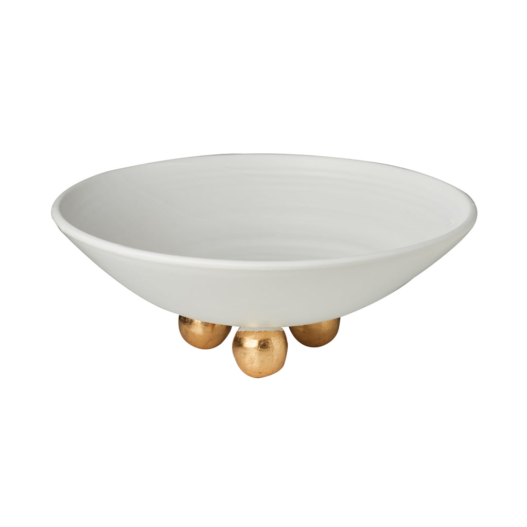 Catalina Footed Plate, Matte White, Gold Feet