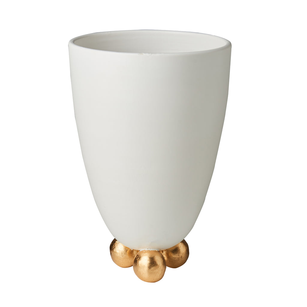 Catalina Footed Vase, Matte White, Gold Feet