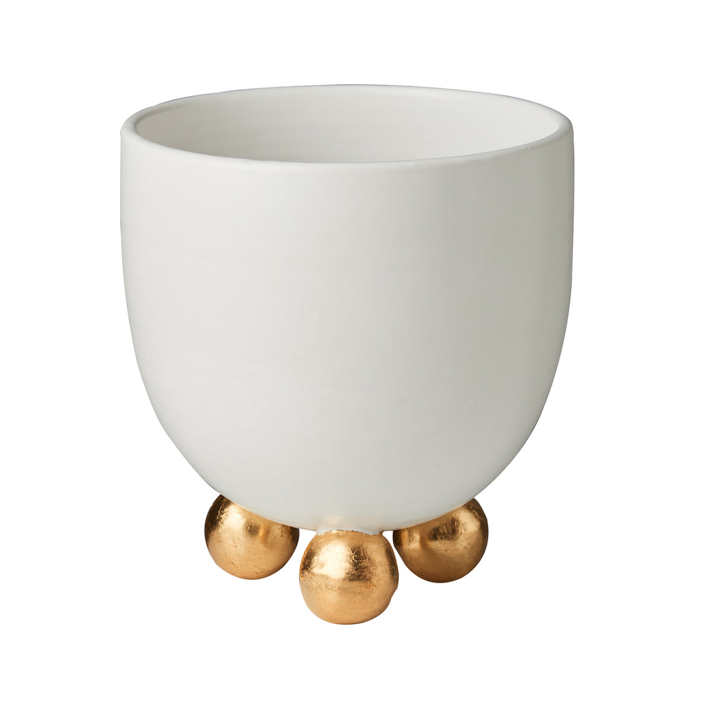 Catalina Footed Cachepot, Matte White, Gold Feet