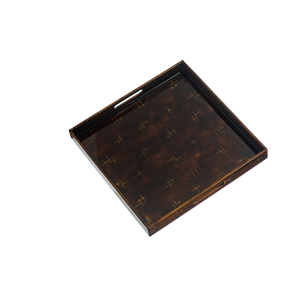 300004 Abigails Wholesale Tabletop Mixed Media Trays Brown Lacquer Square Tray