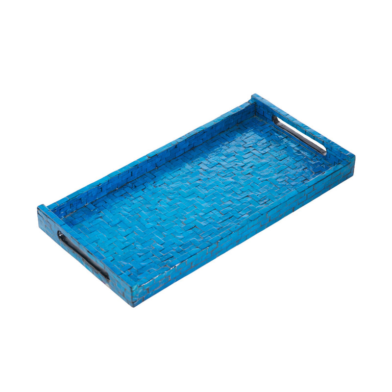 300006 Abigails Wholesale Tabletop Mixed Media Trays Blue Basket Weave Rectangle Tray