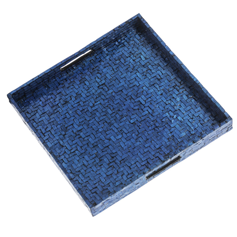 300008 Abigails Wholesale Tabletop Mixed Media Trays Blue Basket Weave Square Tray