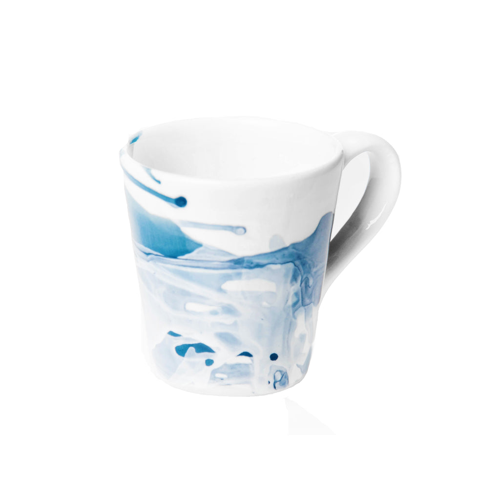 Splash, Ceramic Mug Blue and White, Set of 4