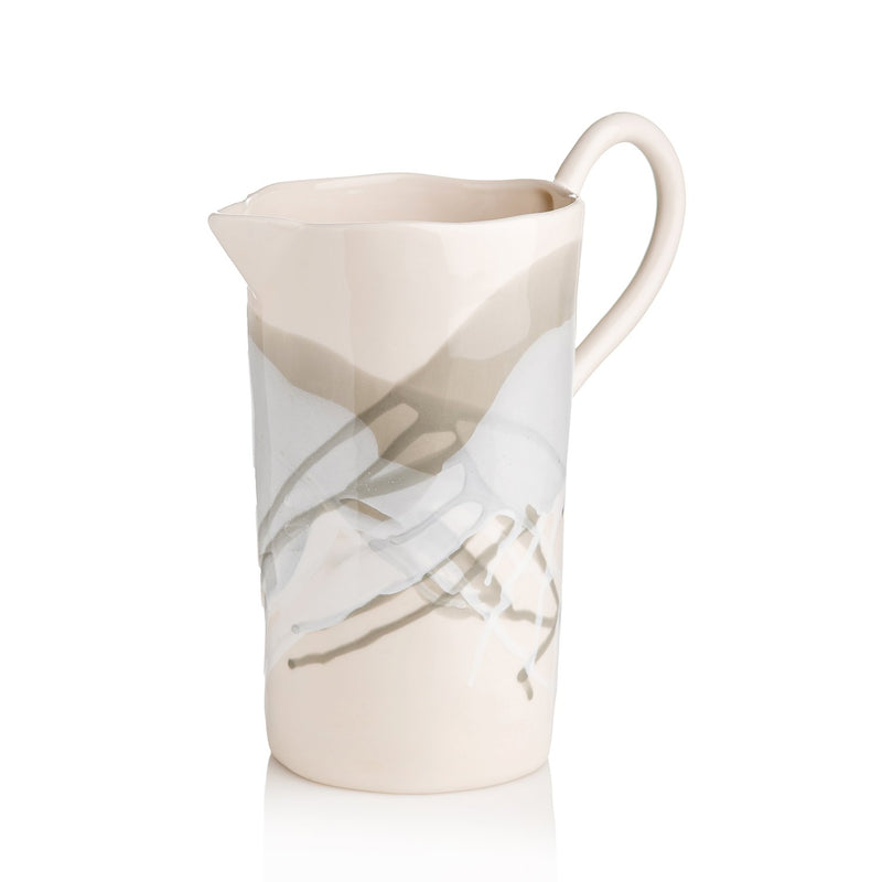 Splash, Ceramic Pitcher Gray and White