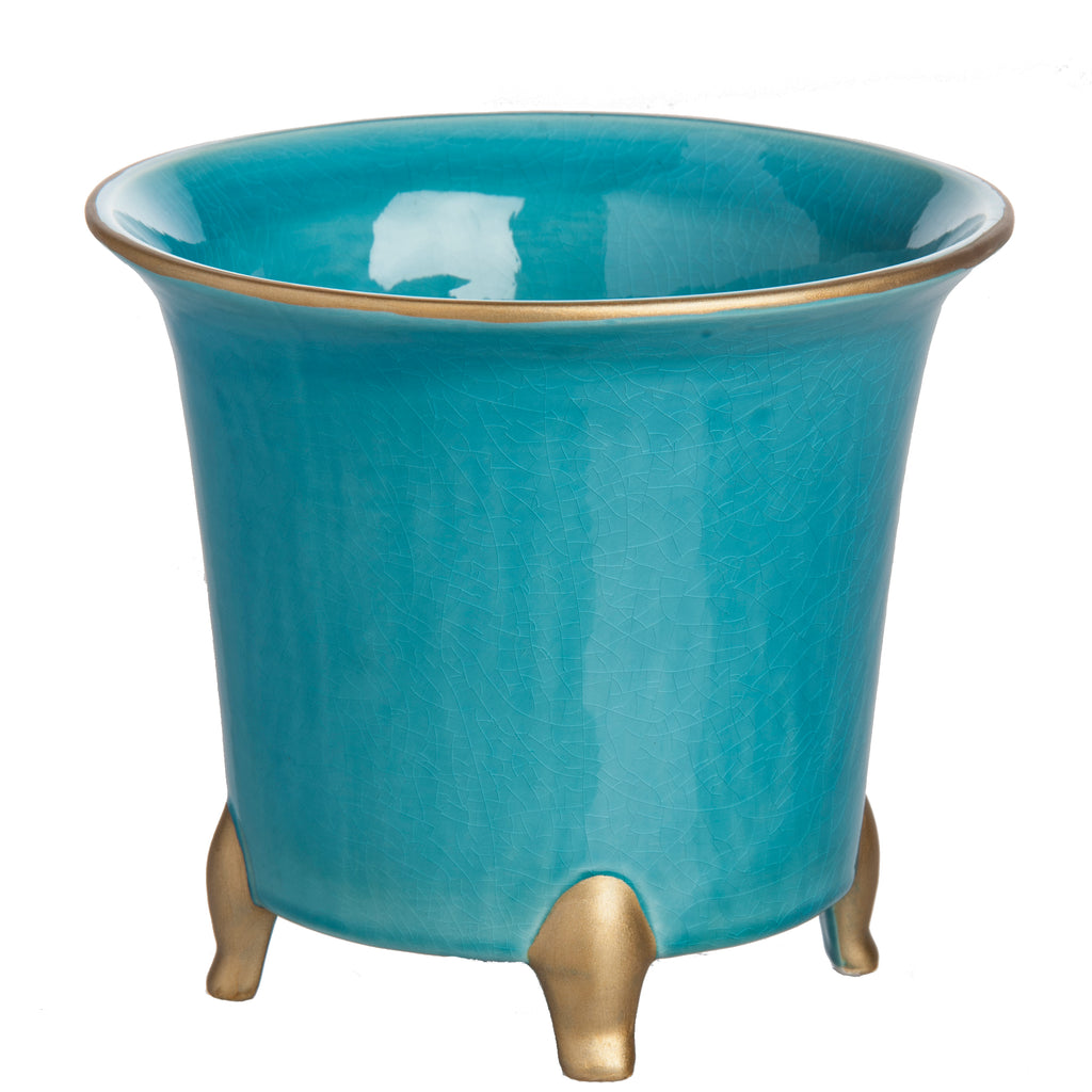 Cachepot, Turquoise with Gold, Large