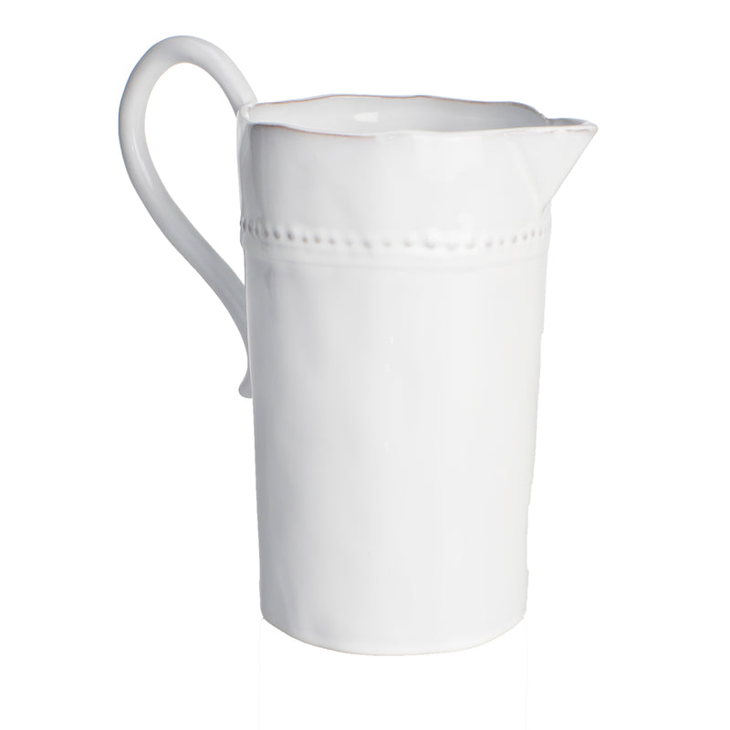 Charlot Pitcher, White, Scroll Handle