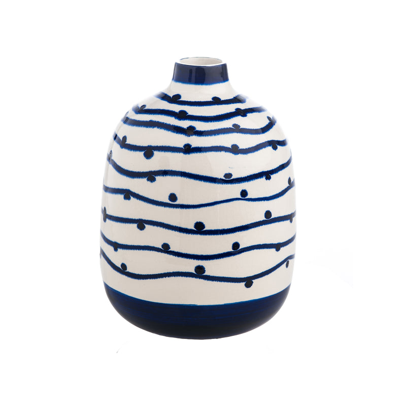 400422 Abigails Wholesale Home Décor Ceramics and Terra Cotta Vases Navy Wave with Dots Vase