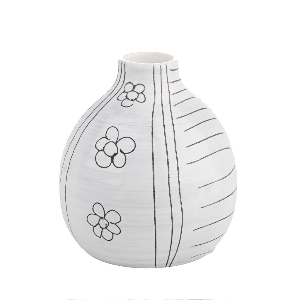 Black and White Graffiti Pottery Vase