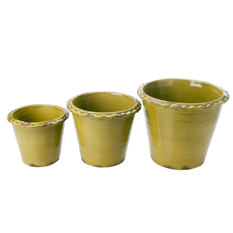 401708 Abigails Wholesale Home Décor Ceramics and Terra Cotta Planters Thumbprint Garden Pots Pistachio Green
