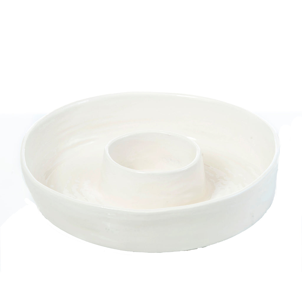 Palmetto Ceramic Chip 'N Dip, Cream