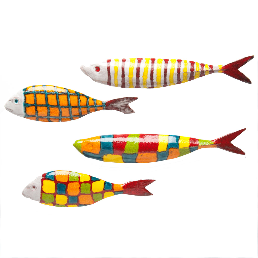 Cantina Ceramic Fish Wall Art, Set of 4
