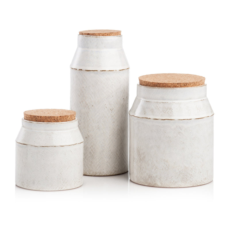 401733 Abigails Wholesale Tabletop Ceramics Accessories Cantina Canisters Set of 3 Cantina