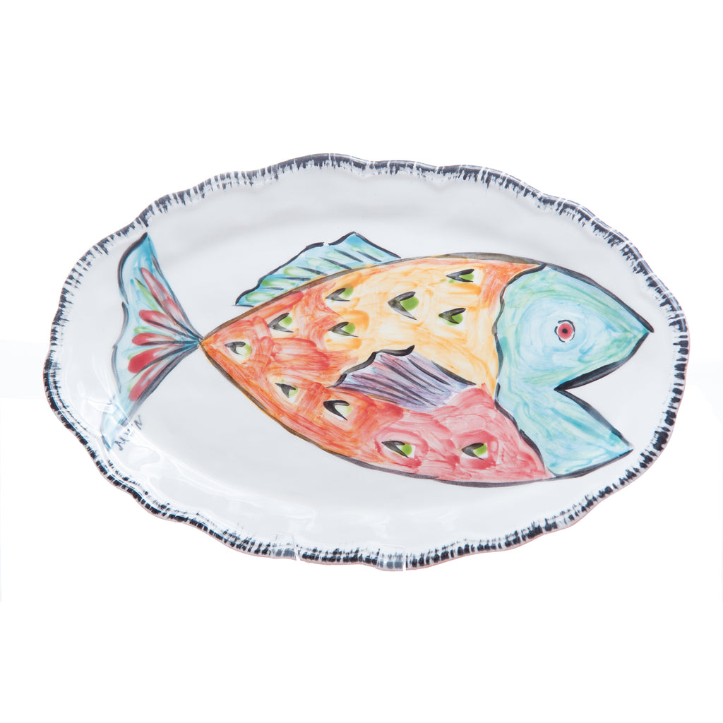 Napoli Platter, Red Fish, Oval