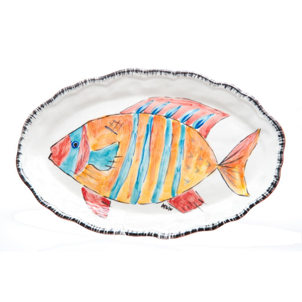 Napoli Platter, Striped Fish, Oval