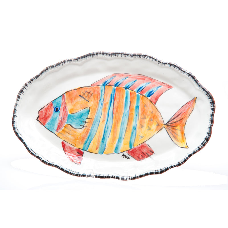 402101 Abigails Wholesale Tabletop Ceramics Platters Napoli Platter Striped Fish Oval Napoli