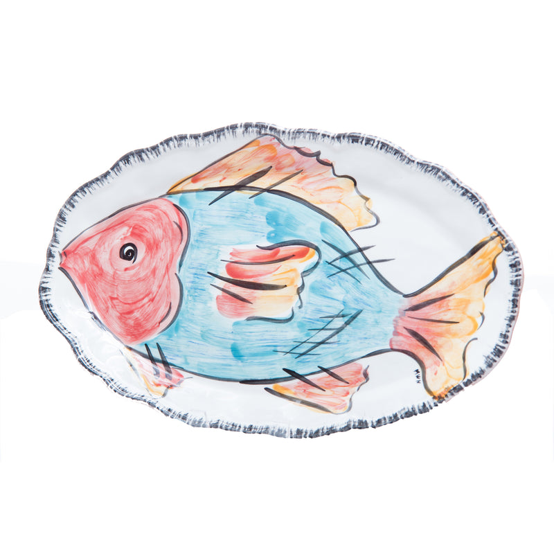 402102 Abigails Wholesale Tabletop Ceramics Platters Napoli Platter Blue Fish Oval Napoli