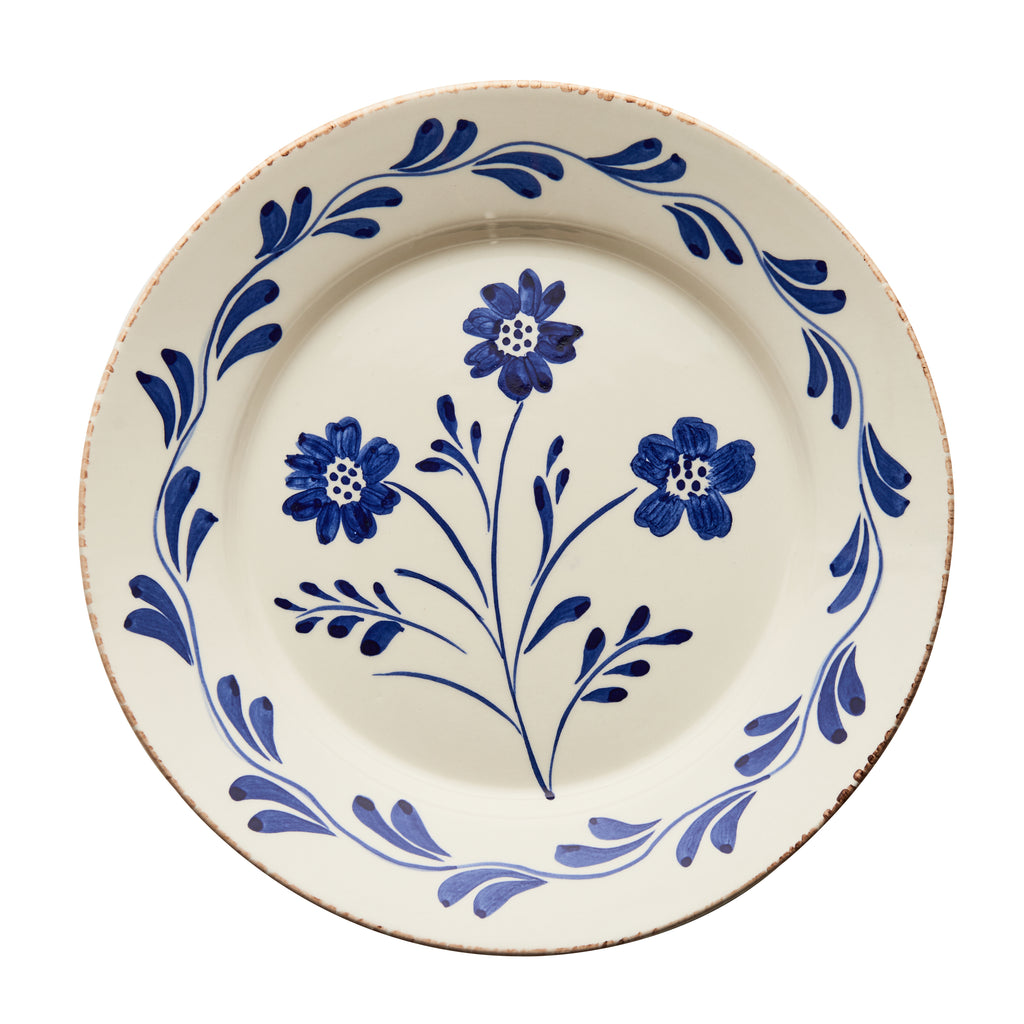 Casa Nuno Blue and White Dinner Plate, Vines, 3 Flowers/Vines, Set of 2