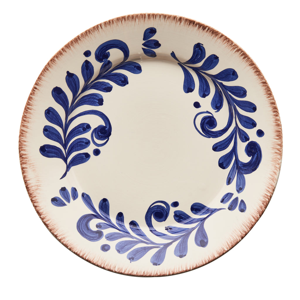 Casa Nuno Blue and White Dinner Plate, Vines, Set of 2